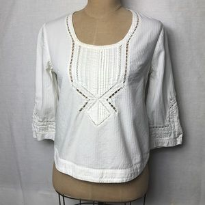 Anthropologie textured cotton lace detail top